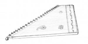 En qanun. Det er en citer (en slags liggende harpe), der bruges i bl.a. arabisk og tyrkisk klassisk musik.